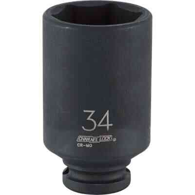 Channellock 1/2 In. Drive 34 mm 6-Point Deep Metric Impact Socket