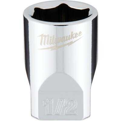 Milwaukee 1/4 In. Drive 1/2 In. 6-Point Shallow Standard Socket with FOUR FLAT Sides