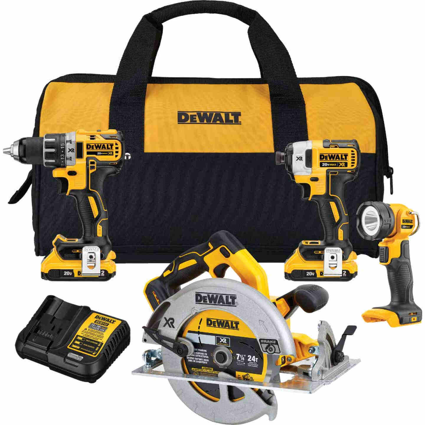 DeWalt 4-Tool 20V MAX XR Lithium-Ion Brushless Compact Drill/Driver, Impact Driver, Circular Saw & Work Light Cordless Tool Combo Kit Image 1