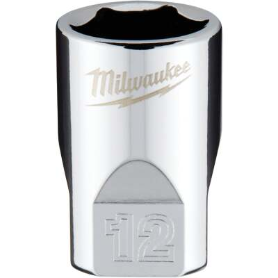 Milwaukee 1/4 In. Drive 12 mm 6-Point Shallow Metric Socket with FOUR FLAT Sides