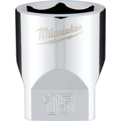 Milwaukee 1/4 In. Drive 15 mm 6-Point Shallow Metric Socket with FOUR FLAT Sides