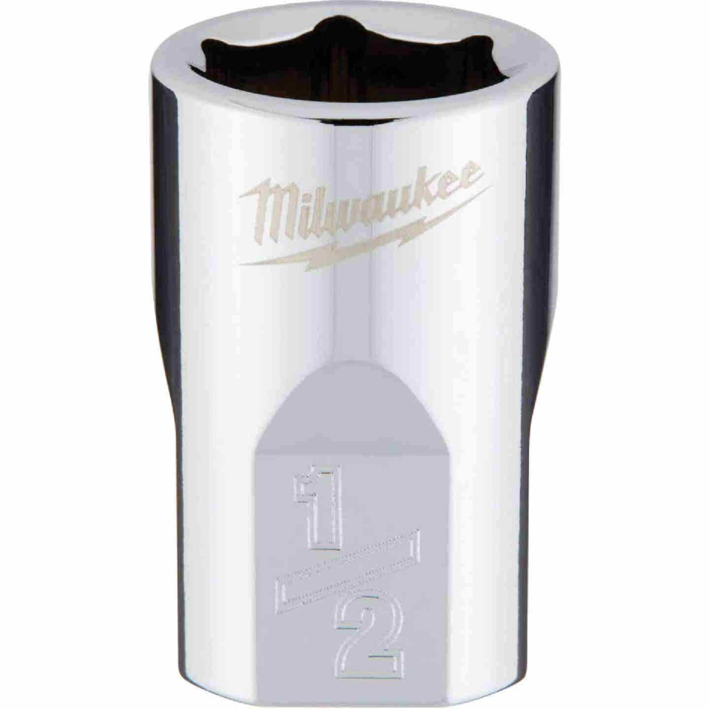 Milwaukee 3/8 In. Drive 1/2 In. 6-Point Shallow Standard Socket with FOUR FLAT Sides Image 1