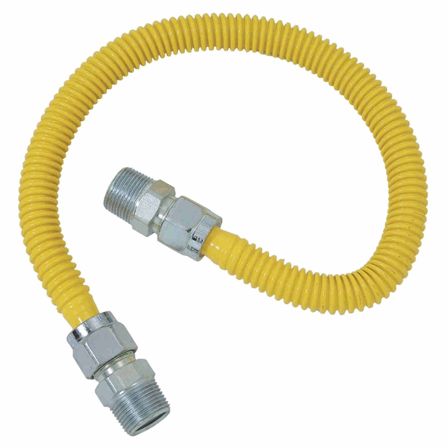 Dormont 5/8 In. OD x 24 In. Coated Stainless Steel Gas Connector, 3/4 In. MIP x 1/2 In. MIP (Tapped 3/8 In. FIP) Image 1