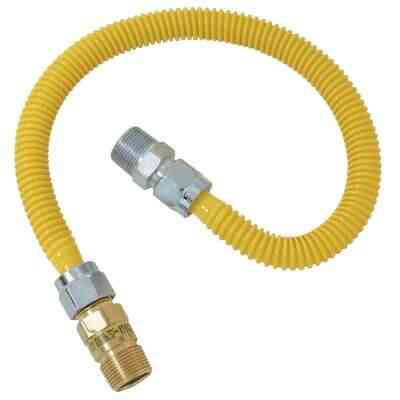 Dormont 5/8 In. OD x 36 In. Coated Stainless Steel Gas Connector, 1/2 In. MIP (Tapped 3/8 In. FIP) x 1/2 In. MIP SmartSense