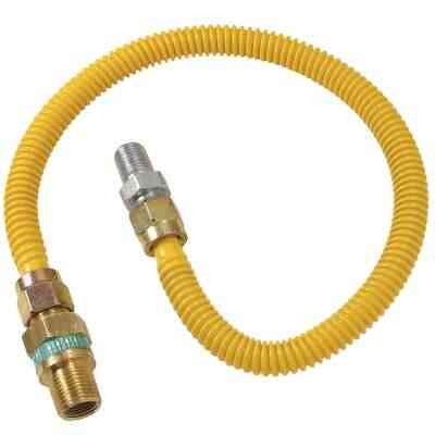 Dormont 1/2 In. OD x 48 In. Coated Stainless Steel Gas Connector, 1/2 In. MIP (Tapped 3/8 In. FIP) x 1/2 In. MIP SmartSense