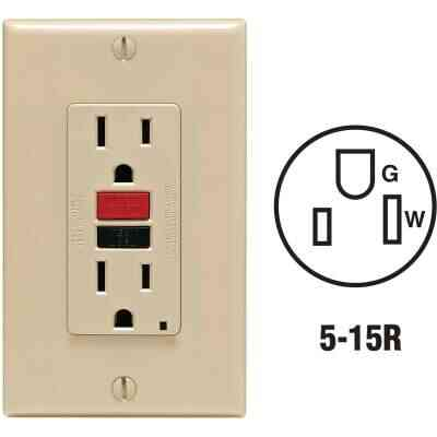 Leviton SmartlockPro Self-Test 15A Ivory Residential Grade 5-15R GFCI Outlet with Wall Plate