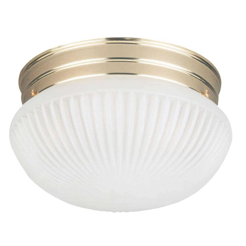 Home Impressions 9-1/2 In. Polished Brass Incandescent Flush Mount Ceiling Light Fixture Image 1