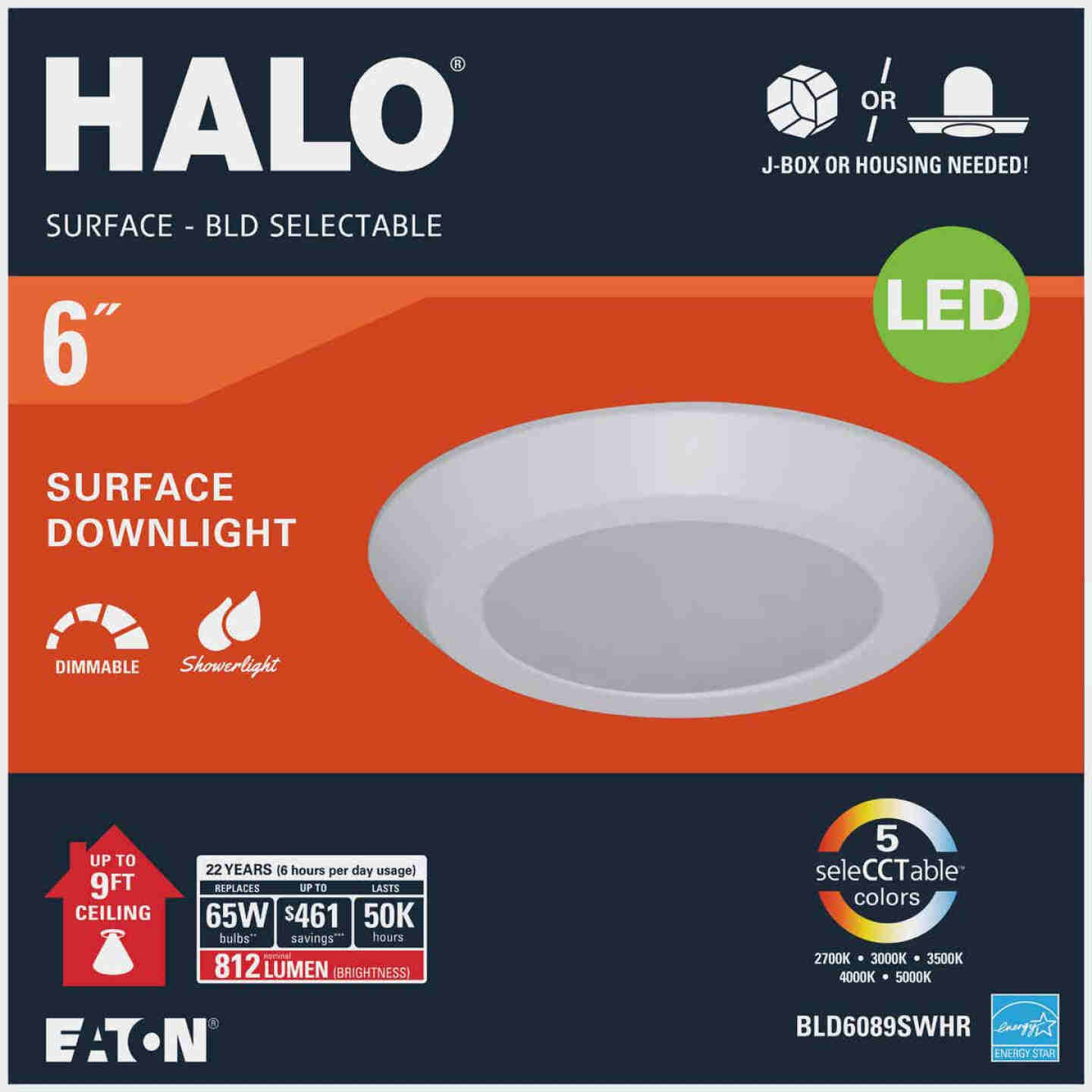 Halo 6 In. Retrofit Flush Mount Selectable Color Temperature LED Recessed Light Kit, 812 Lm. Image 2