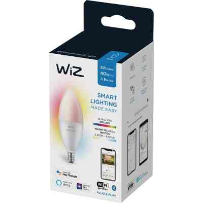 Wiz 40W Equivalent Color Changing B12 Candelabra Dimmable Smart LED Decorative Light Bulb