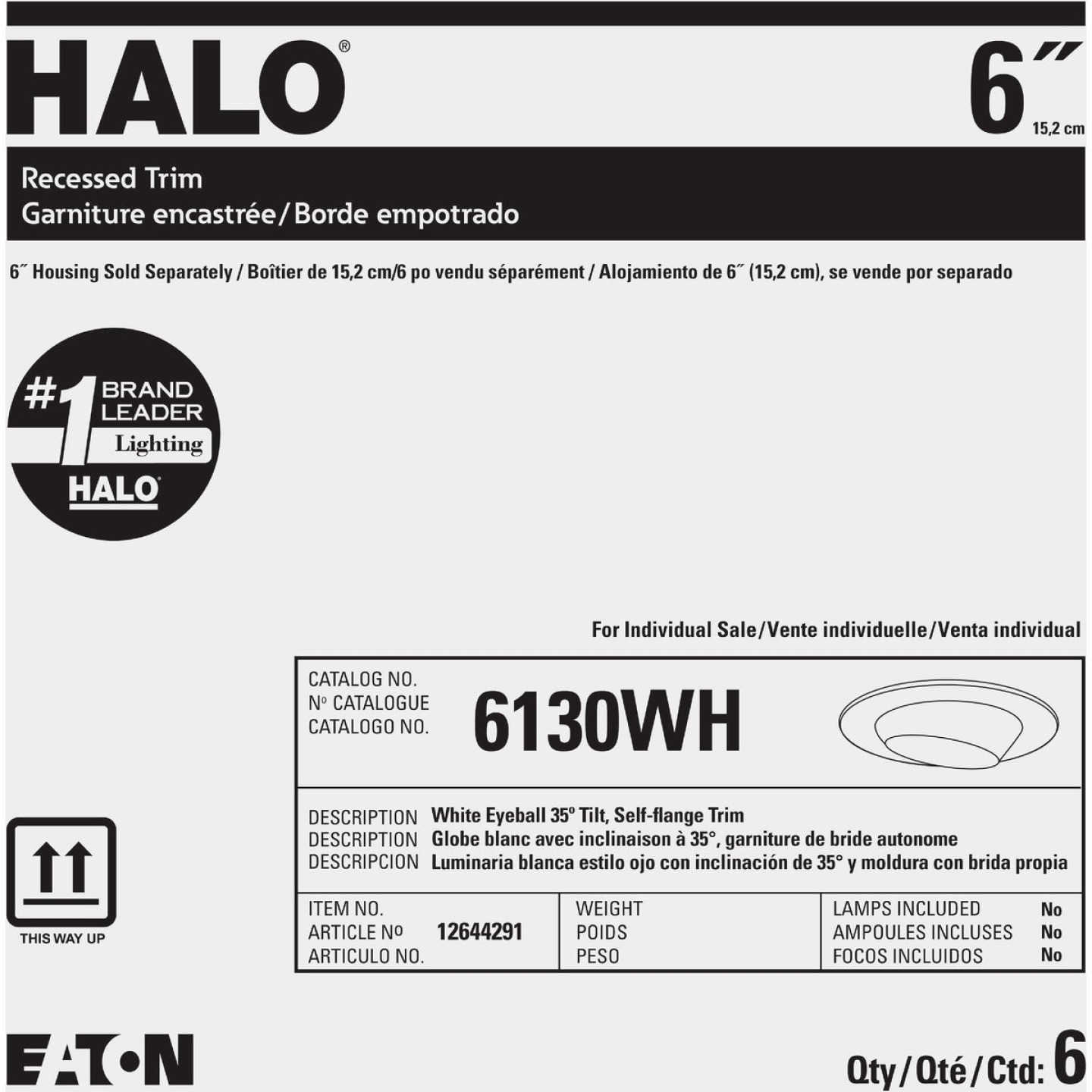 Halo 6 In. White Self-Flanged Eyeball Recessed Light Trim Image 2