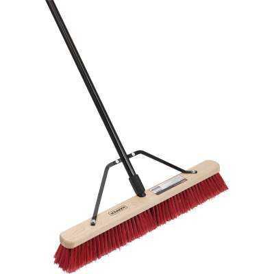 Harper 24 In. Red Bordered Indoor/Outdoor Block Push Broom with 15/16 In. X 60 In. Threaded Metal Handle and Steel Brace