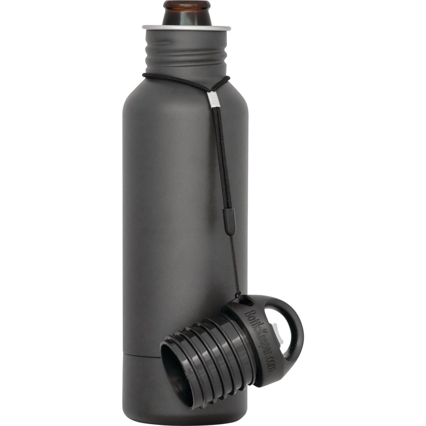 BottleKeeper 12 Oz. Charcoal Stainless Steel Insulated Drink Holder Image 1
