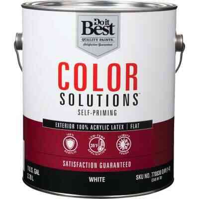 Do it Best Color Solutions 100% Acrylic Latex Self-Priming Flat Exterior House Paint, White, 1 Gal.