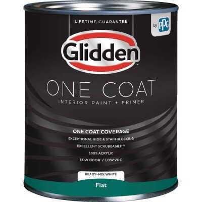 Glidden One Coat Interior Paint + Primer Flat Ready Mix White Quart