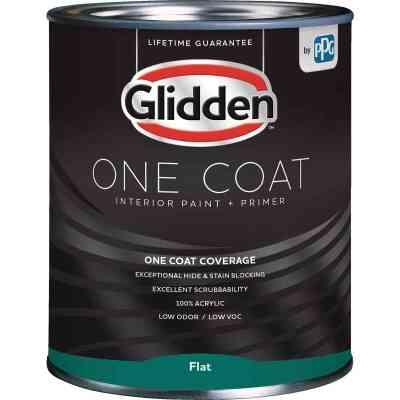 Glidden One Coat Interior Paint + Primer Flat Midtone Base Quart