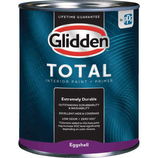 Glidden Total Interior Paint + Primer Eggshell Ultra Deep Base Quart