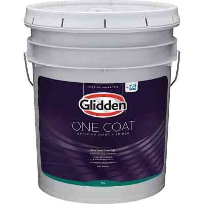 Glidden One Coat Exterior Paint + Primer Flat Midtone Base 5 Gallon