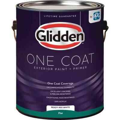 Glidden One Coat Exterior Paint + Primer Flat Ready Mix White 1 Gallon
