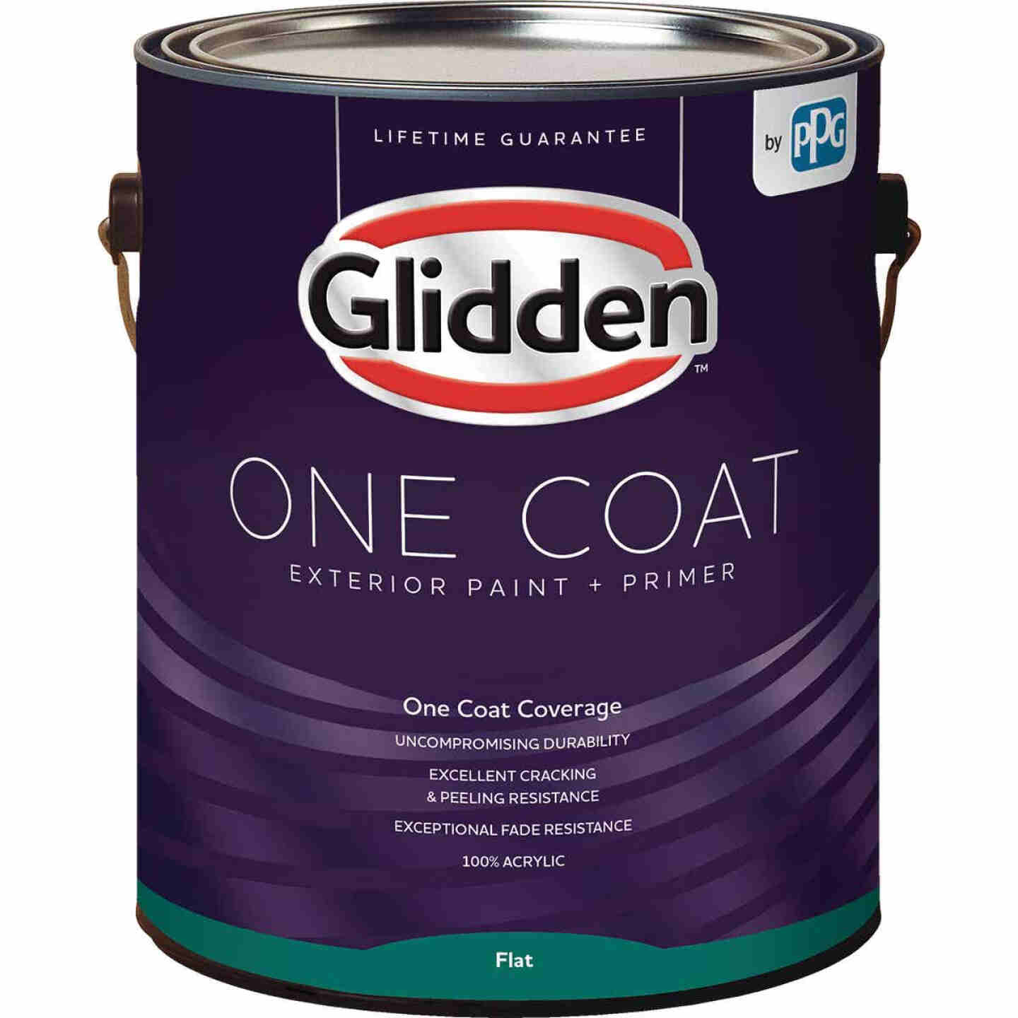 Glidden One Coat Exterior Paint + Primer Flat White & Pastel Base 1 Gallon Image 1