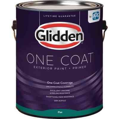 Glidden One Coat Exterior Paint + Primer Flat White & Pastel Base 1 Gallon