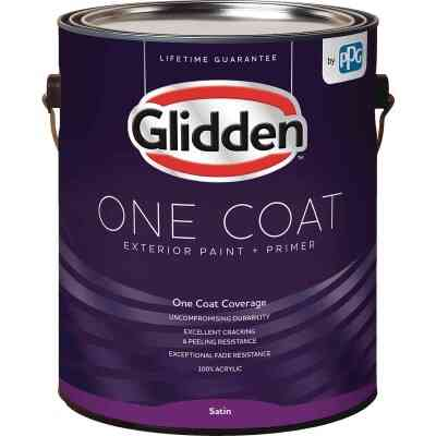 Glidden One Coat Exterior Paint + Primer Satin White & Pastel Base 1 Gallon