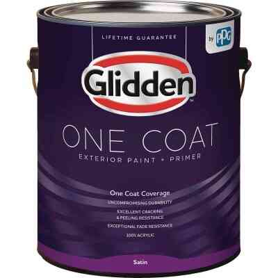 Glidden One Coat Exterior Paint + Primer Satin Ultra Deep Base 1 Gallon