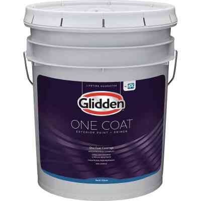 Glidden One Coat Exterior Paint + Primer Semi-Gloss Midtone Base 5 Gallon
