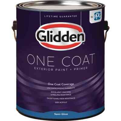 Glidden One Coat Exterior Paint + Primer Semi-Gloss White & Pastel Base 1 Gallon