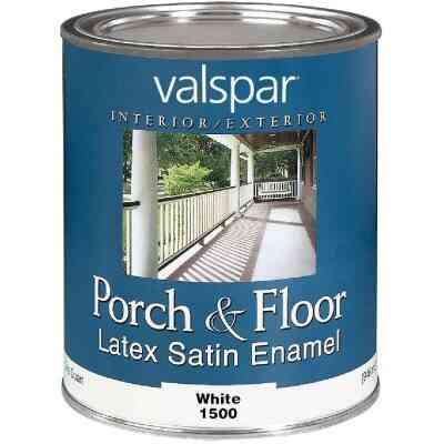 Valspar 1 Qt. White Self Priming Latex Satin Porch & Floor Enamel