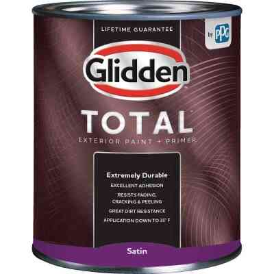 Glidden Total Exterior Paint + Primer Satin White & Pastel Base Quart