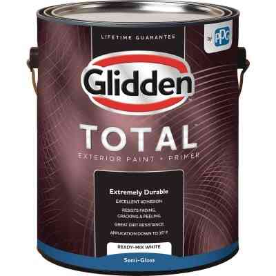 Glidden Total Exterior Paint + Primer Semi-Gloss Ready Mix White 1 Gallon
