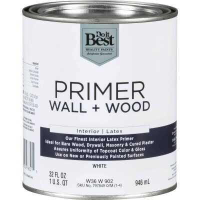 Do it Best Interior Latex Wall and Wood Primer, White, 1 Qt.