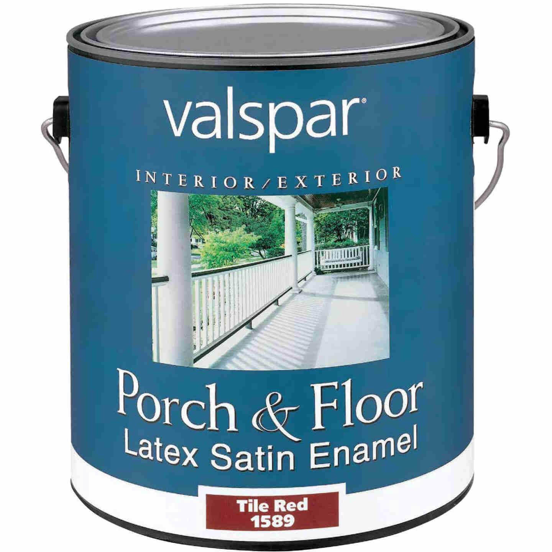 Valspar 1 Gal. Tile Red Self Priming Latex Satin Porch & Floor Enamel Image 1