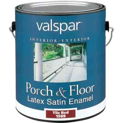Valspar 1 Gal. Tile Red Self Priming Latex Satin Porch & Floor Enamel